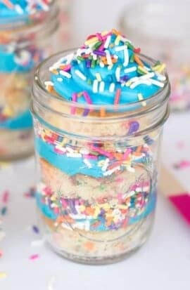 Sprinkles Birthday Cake In Mason Jars Spaceships And