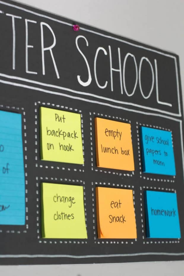Post It Note After School Organization Board