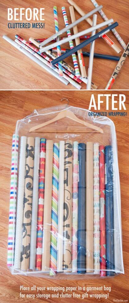 Garment Bag Wrapping Paper Storage