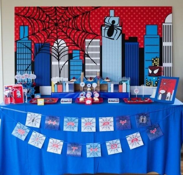 Spiderman Themed Dessert Table