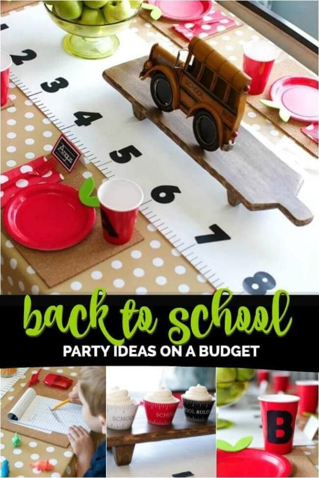 A cutting board with a cake on a table, with Party and School