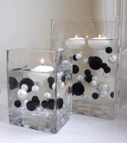 Black and White Water Bead candle