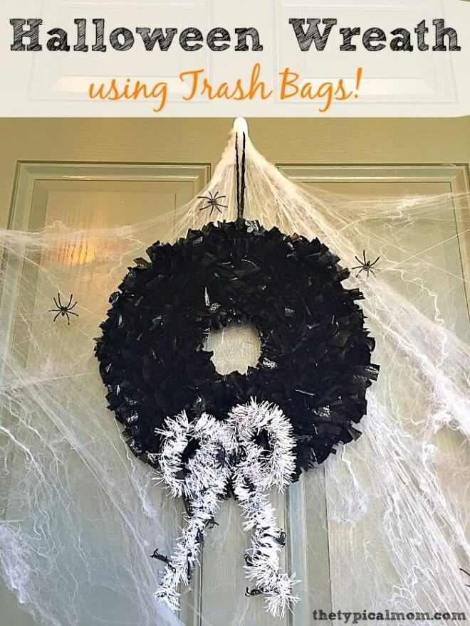 DIY Halloween Trash Bag Wreath