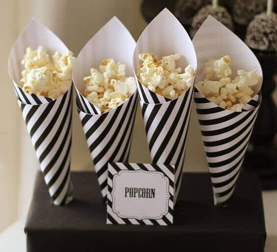 Black and White Popcorn Cones