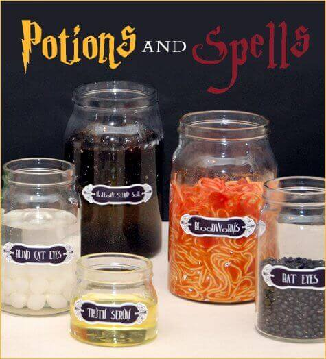 These Potion Jar Ingredient Centerpieces Will Impress And Unnerve Guests At Your Harry Potter Party