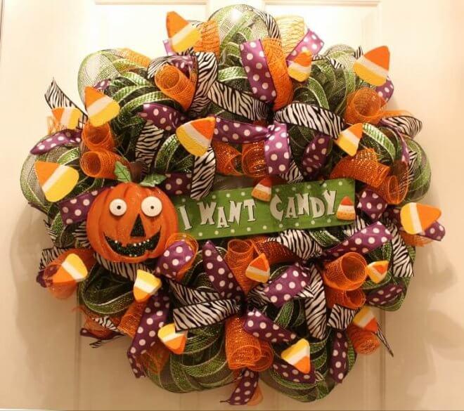Festive Halloween Mesh Wreath