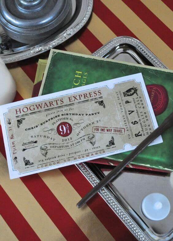 Get your guests ready to travel to Platform 9 3/4 with these Hogwarts Express Harry Potter party invitations.