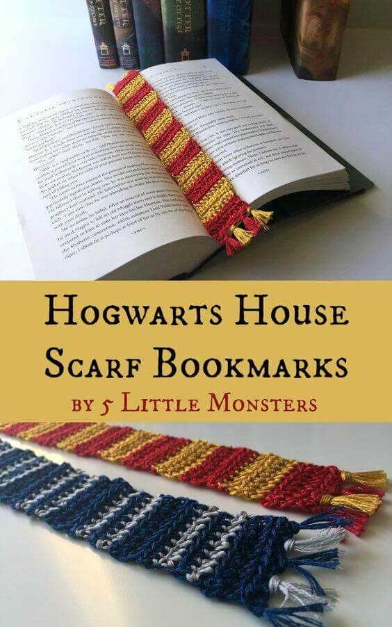 These cute Hogwarts house scarf bookmarks make great Harry Potter party favors.