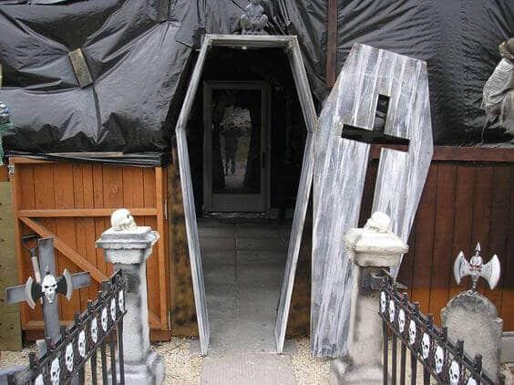 coffin halloween door decorations