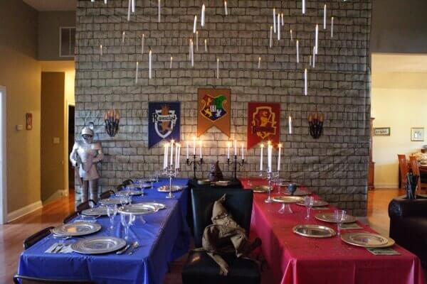 Transform your home in the Hogwarts Great Hall Dining Area for your Harry Potter party.