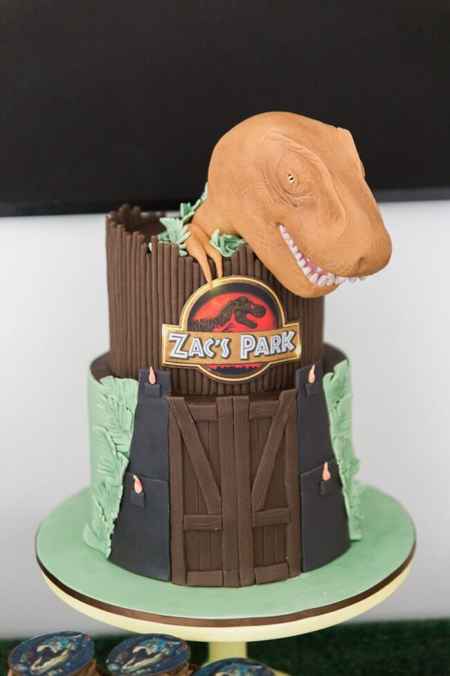 Boys Jurassic Park Themed Birthday Party Cake