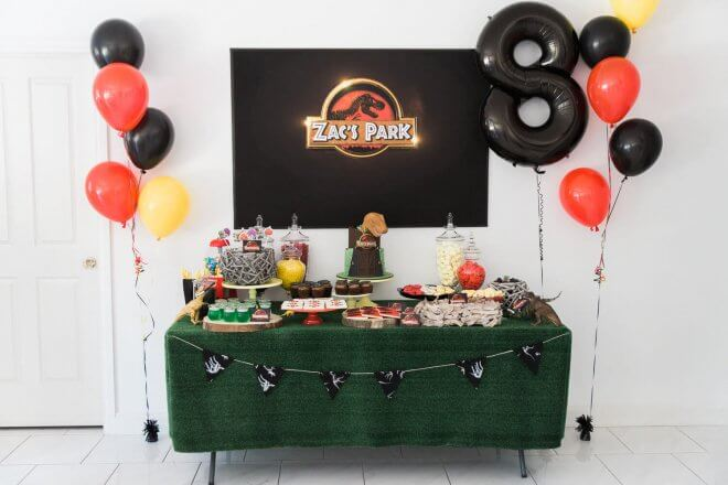 Boys Jurassic Park Themed Party Dessert Table