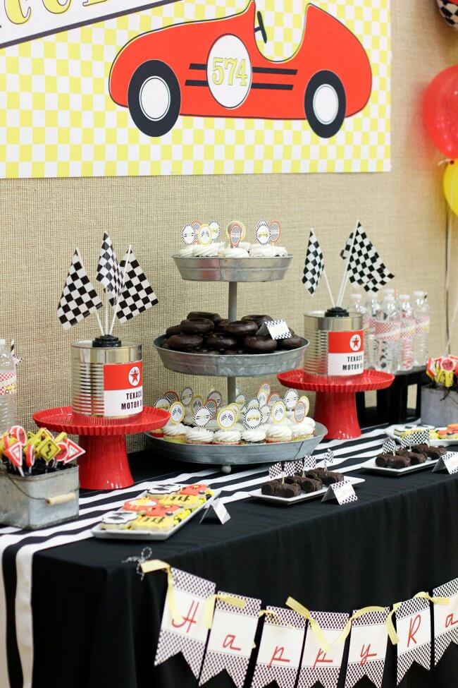 Boys Pinewood Derby Party Dessert Table