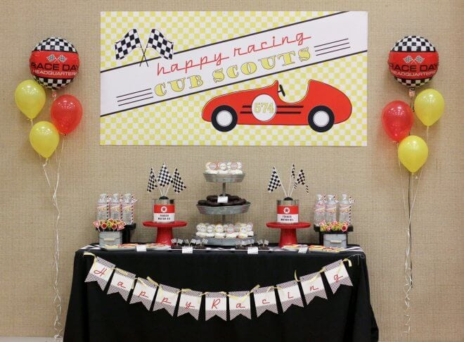 Boys Pinewood Derby Racecar dessert party table