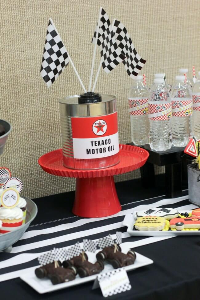 Boys Pinewood Derby racecar themed party table treats