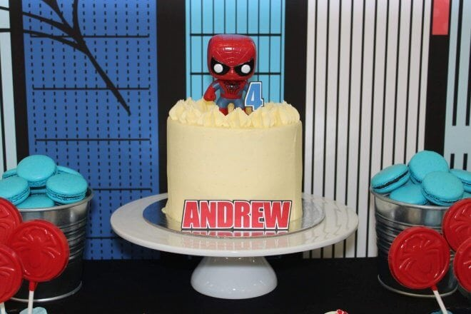 Boys Spiderman themed birthday party cake