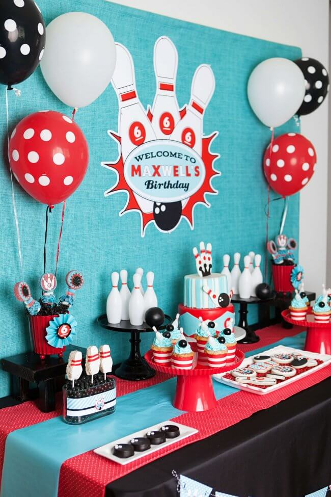 Boys Bowling Themed Birthday Party Dessert Table