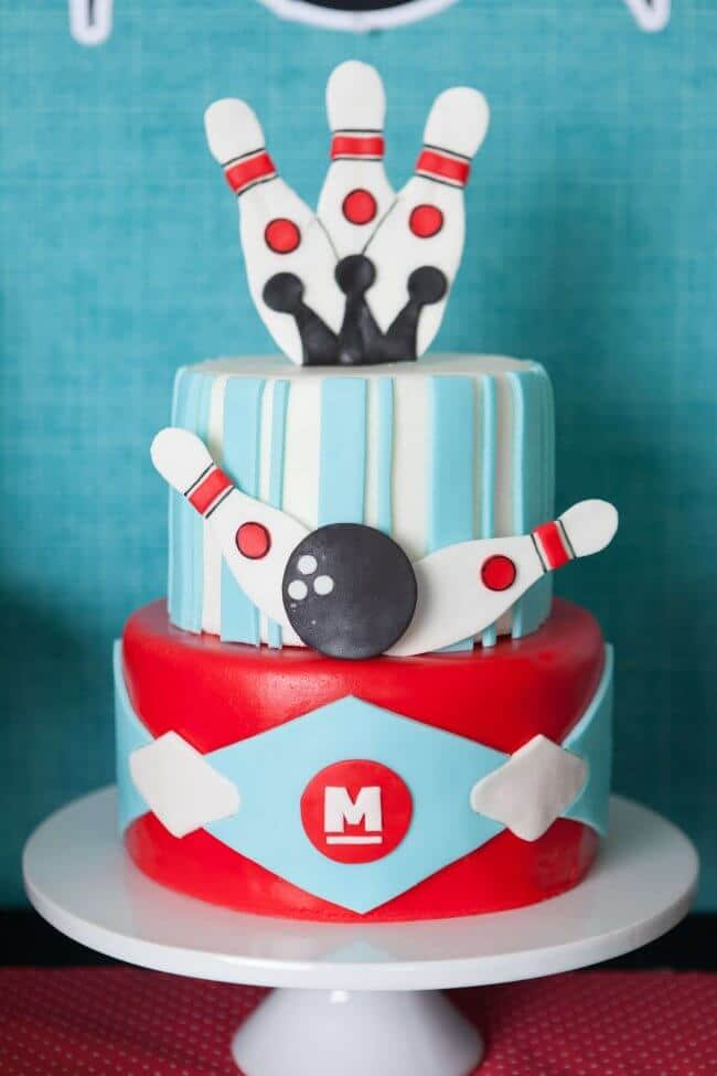 Boys Bowling Themed Birthday Party Cake Ideas