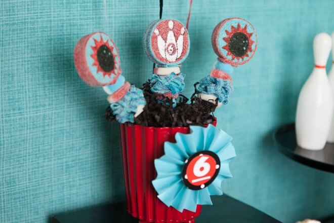 Boys Bowling Themed Birthday Party Food Party Food Ideas Candy Pops