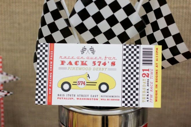 Vintage Pinewood Derby Party Invitations