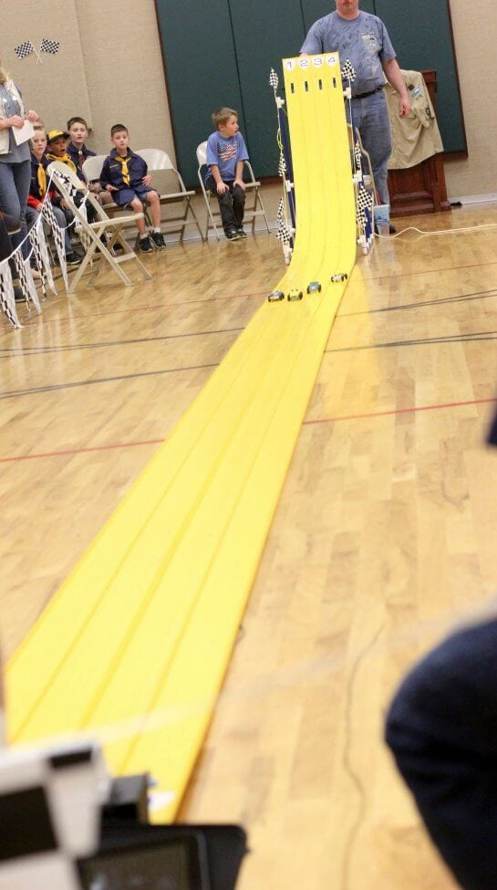 Vintage Pinewood Derby Racing Party track