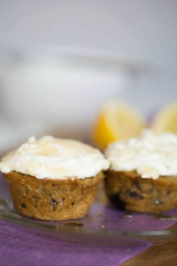 Blueberry Oat Muffins with Cream Cheese Greek Yogurt Icing