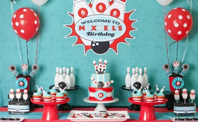 Sensational A Boys Retro Bowling Themed Birthday Party Spaceships And Laser Personalised Birthday Cards Veneteletsinfo
