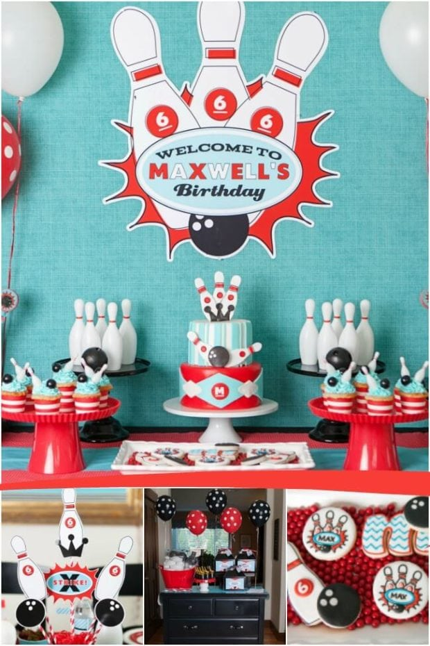 A Boy S Retro Bowling Themed Birthday Party Spaceships