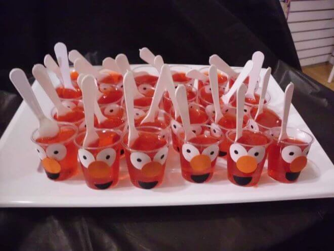 21 fabulous elmo birthday party ideas spaceships and laser beams elmo jello cups solutioingenieria Image collections