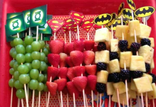 Super hero fruit kabobs