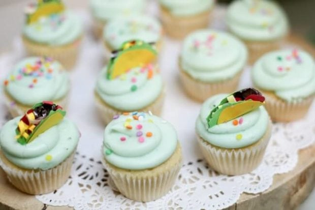Dragons Love Tacos Birthday party cupcakes