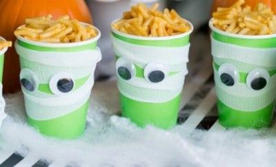 Kid's Halloween Food Ideas: Mummy Brains Mac & Cheese Cups