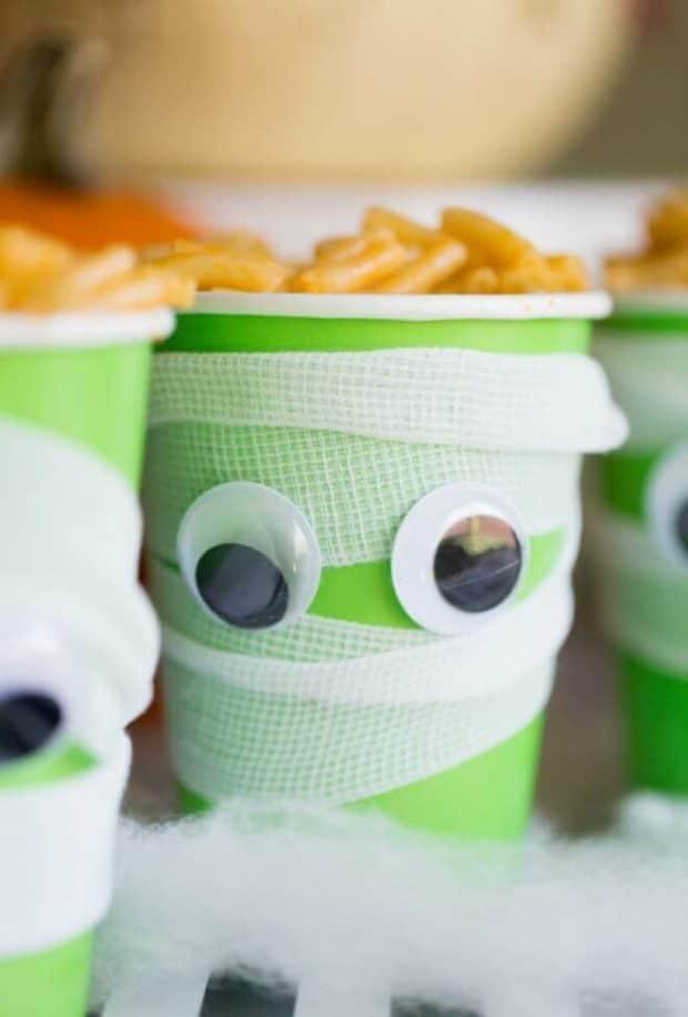 Mac & Cheese Mummy Brains for Halloween