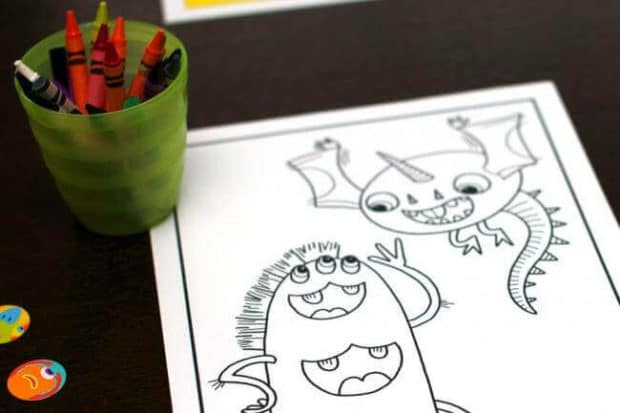 Monster Circus Birthday Party Coloring Page Activity