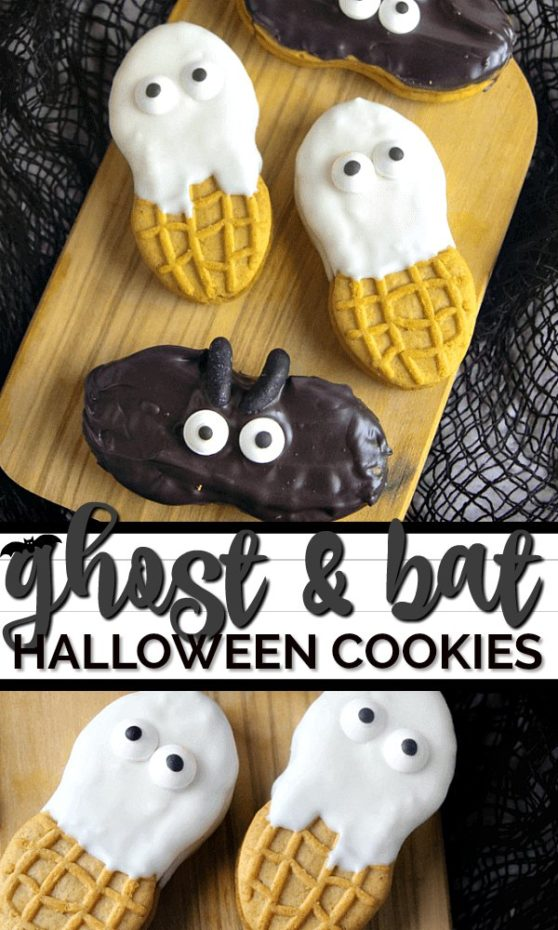 These take less than 5 minutes to make! Ghost and bat Halloween cookies