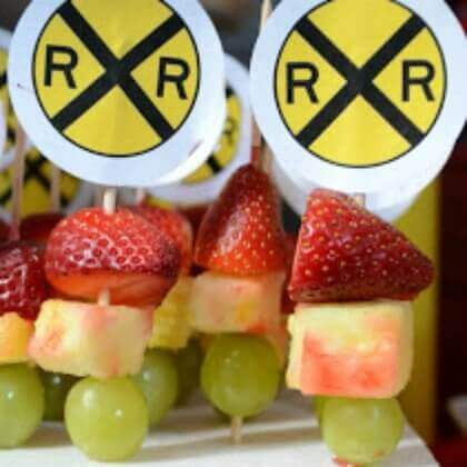Railroad crossing fruit kabobs