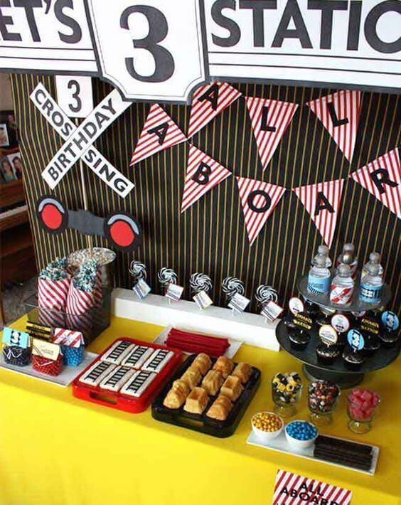 Train birthday party dessert table