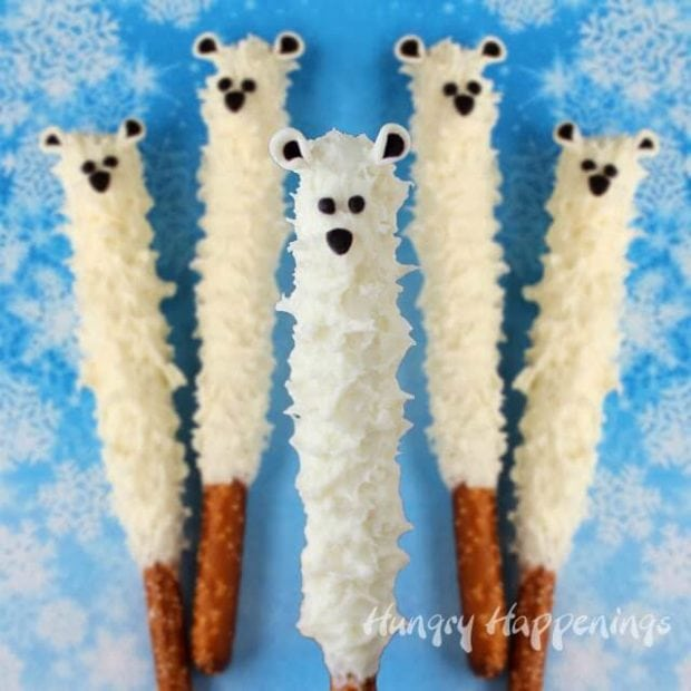 white Chocolate Polar Bear Pretzels