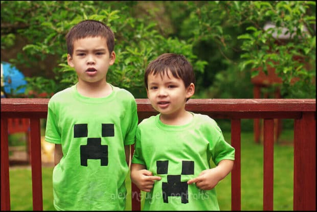 Custom Minecraft Birthday Party Shirts