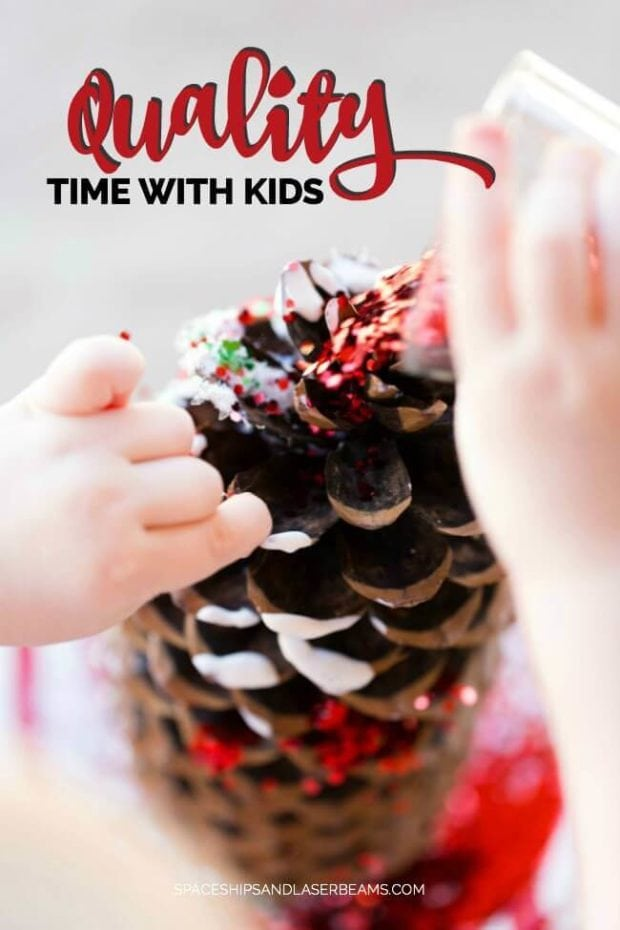 Glitter Pine Cone Christmas Craft Idea for Kids