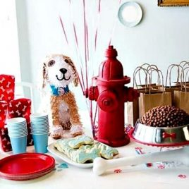 A table topped with plates of food, with Dog and Idea