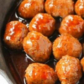 A close up of food, with Meatball