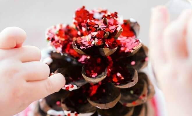 Glitter Pine Cone Christmas Craft Idea for Kids