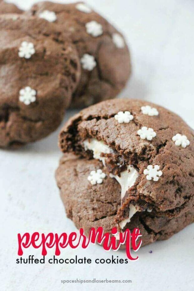 Peppermint Stuffed Chocolate Cookies