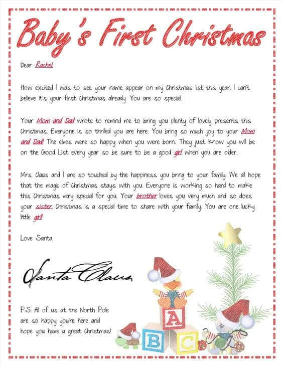 15 printable letters from santa spaceships and laser beams With baby s first christmas letter from santa template