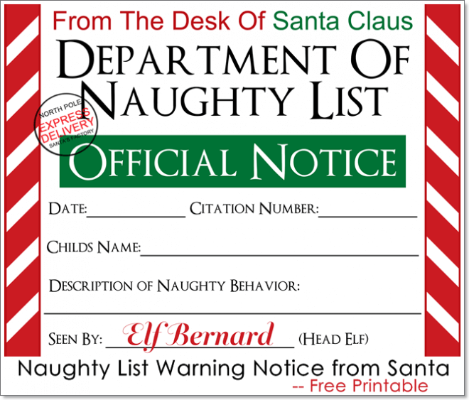 free printable naughty list