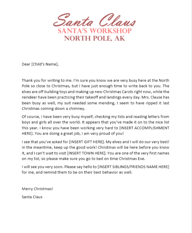 Free Printable Santa Workshop