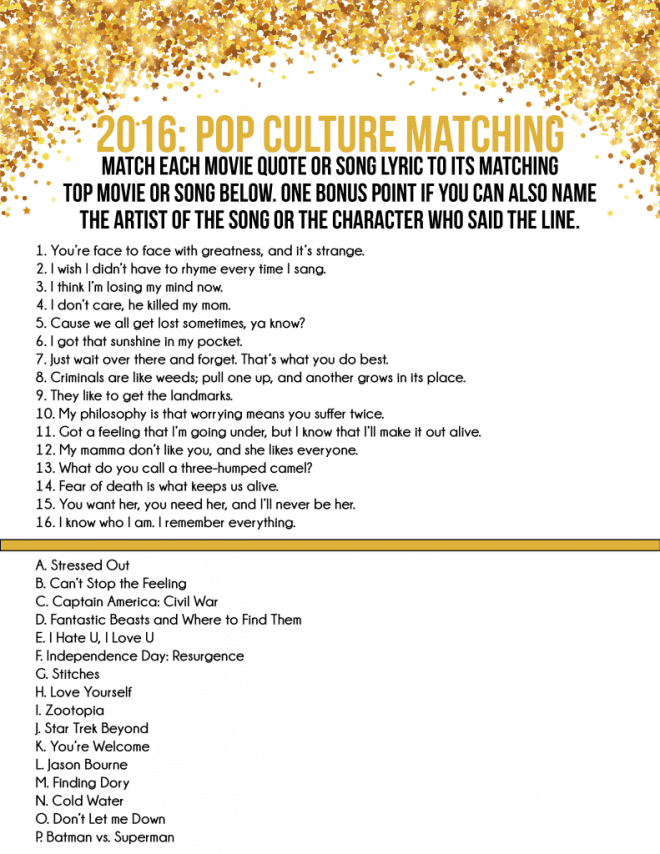 Pop Culture Matching Game