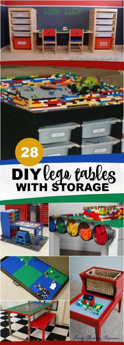 DIY Lego Tables with Storage - lots of ikea hacks, tables made from scratch, plans, trays that fit under the bed and more.