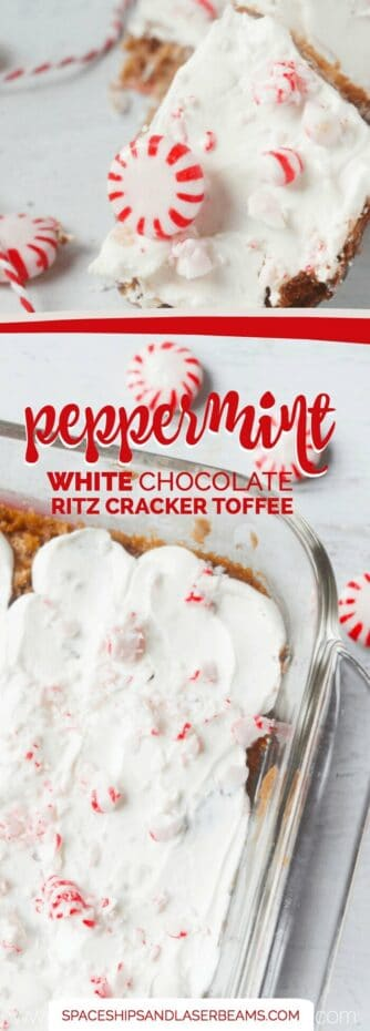 White Chocolate Peppermint Cracker Toffee